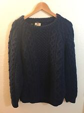 Mens CARRAIG DONN HANDKNIT Cableknit Sweater MEDIUM Blue Aran Fisherman