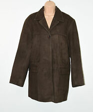 Brown Suede Leather WALLACE SACKS Biker Semi Fitted Coat Jacket Size 16