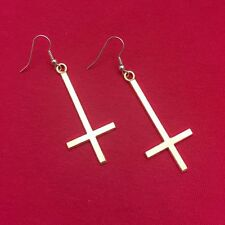"GOLD EP UPSIDE down Solid CROSS 2"" long Earrings."