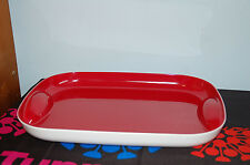 TUPPERWARE classy carefree serving TRAY white bottom glossy red inside chic