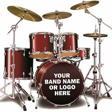 Custom Bass Drum Sticker Personalised Kick Drum Vinyl Decal Band Name Or Logo