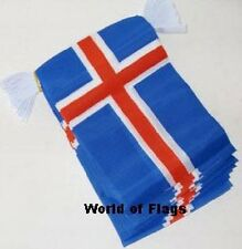 ICELAND FLAG BUNTING Icelandic 9m 30 Fabric Party Flags Europe European