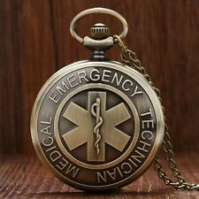 Hot EMT Emergency Medical Technician Paramedic Badge Quartz Pocket Watch Pendant