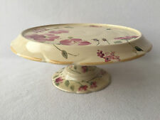 Pie Cake Plate Pedestal Stand Silk Rose Shabby Cottage Chic Scalloped Edge