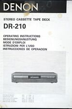 Denon dr-210 cassette audio Deck original mode d'emploi/user manual