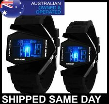 AIRPLANE MENS LED DIGITAL WATCH Army Military Dress Fashion Water Resistant D1