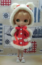Blythe Outfit Clothing Cute Bear Flannelet Hat + Coat Set (Red)
