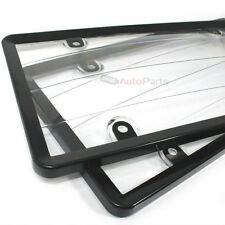 2 Black Plastic License Plate Tag Frames with Clear Protector for Auto-Car-Truck