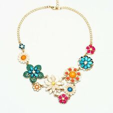 N634 Betsey Johnson Flower Crystal Gem Wedding Accessories Cocktail Necklace US