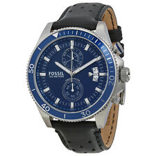 Fossil Wakefield Chronograph Blue Dial Black Leather Mens Watch CH2945