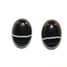 Black and White Striped Agate 10x14mm with 4.5mm dome Cabochons Set of 2 (11757)