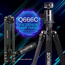 Q666C Professional Carbon Fiber Tripod Monopod&Ball Head for Canon DSLR Camera
