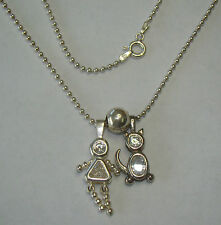 """Sterling Silver 24"""" Beaded Necklace W/ Girl & Cat Pendant - 9.59 Grams - #M551"""