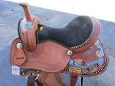 15 16 BARREL RACING SILVER STUD SHOW TURQUOISE BLUE LEATHER WESTERN HORSE SADDLE