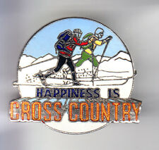RARE PINS PIN'S .. SPORT HIVER SKI SKIING CROS COUNTRY FOND HAPPINESS USA ~C1