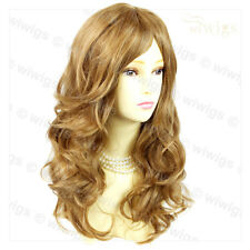 Wonderful wavy Long Golden Blonde mix Curly Ladies Wigs skin top Hair WIWIGS UK