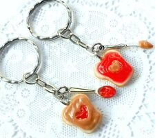 Peanut Butter and Strawberry Heart Jelly Keychain Set, BFF Best Friend's! :)