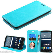 for LG G STYLO LS770 Vista 2 FLIP POUCH FOLIO CASE W/STAND+ID HOLDER COVER BLUE