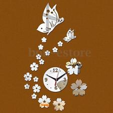 Removable Wall Clock DIY 3D Butterfly Mirror Sticker Home Room Decor Art Modern