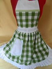 RETRO VINTAGE 50's STYLE FULL APRON / PINNY - GREEN & WHITE
