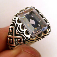 Turkish 925 S. Silver Topaz (lab) Stone Men's Ring Sz 12 us #0160 free resize