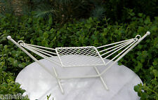 Miniature Dollhouse FAIRY GARDEN Furniture ~ Cream Metal Hammock ~ NEW