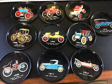 S3 10 Vintage Antique Car Coasters of Antique Automobiles 1893 to 1917