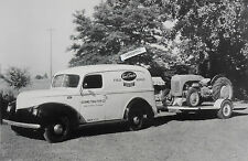 """12 By 18"""" Black & White Picture Ford Tractor 9N with Ford service Panel Truck"""