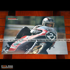 MICHEL ROUGERIE sur sa HARLEY-DAVIDSON N°21 (70's) - Poster Pilote Moto #PM1141