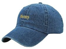 SLOUCH HENNY GOLD TEXT BLUE JEAN DENIM DAD HAT CAP CURVED BILL ADJUSTABLE BUCKLE
