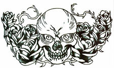 Fake Tattoo Einmal Tattoo Scull&Roses SW wasserfest waterproof (HB-055)