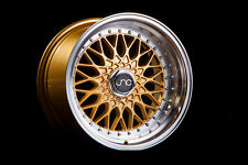 17X10 JNC004 4x100 4x114.3 +25 WHEEL GOLD MACHINE LIP STANCE JETTA GOLF E30 BMW