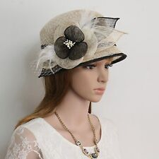 New Woman Church Derby Wedding Party Sinamay Dress Hat 074 BEIGE/BLACK