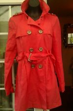 BE BEAU SALMON PINK BUTTON UP LINEN MIX LINED MAC COAT - SIZE 14