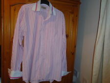 Pink and white stripe long sleeve shirt, PARKER DESIGNER SHIRT, size XL see desc