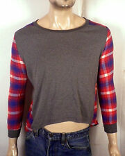 vtg 70s retro Ladies Patchwork Flannel Shirt / Sweatshirt cropped hi low sz L