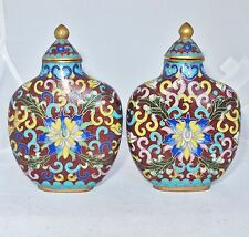 "2 Antique ? Big Chinese Cloisonne Famille Rose Style Snuff Bottles  (3.9"")"