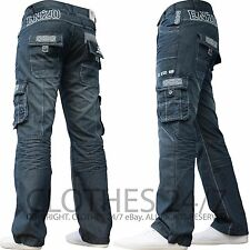 New Mens Enzo Designer Dark Cargo Combat Denim Jeans Pants All Waist & Leg Sizes