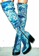 NEW NIB $135 EEIGHT AQUA BLUE CRUSHED VELVET HOROSCOPE PLATFORM KNEE OTK BOOTS 5