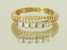 Vintage 14K Yellow Gold .20ctw Filigree Diamond Wedding Anniversary Band