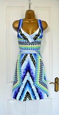 ~HARPER~ Blue Green Aztec Skater Flare Bodycon Summer Party Dress 12 £75 BNWT