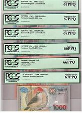Suriname Lot of 6 Notes 5-1000 Gulden 2000 PCGS Gem UNC PPQ - BEAUTIFUL