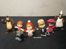 7pcs Mini Figurine from Russian Cartoon Masha and the Bear toys from Kinder Eggs