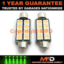 2X GREEN CANBUS NUMBER PLATE INTERIOR 6 SUPER BRIGHT SMD LED BULBS 42MM 14GX2