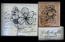 Stampin Up Garden Collage Stamp set of 3 Bird, Butterfly, Daisy, Flowers,