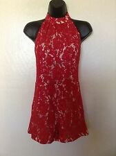 NEW MISSGUIDED Red/Nude Lace High Neck*Open Back*Playsuit/Romper*UK 10/US SZ 6