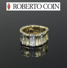 Roberto Coin Elephant Ring Diamond Band 18k Two Tone 9mm wide Sz 6 Retail ~$2900