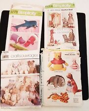 Plush Toy Sewing Patterns - Lot of 4: Winnie the Pooh, Holly Hobbie & Animals