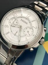 Fossil Womens Gwynn Silver Tone Stainless Steel Chronograph Watch ES4036 NWT