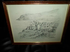 ROBIN HOOD'S BAY By Colin Williamson Black & White Sketched Print FRAMED